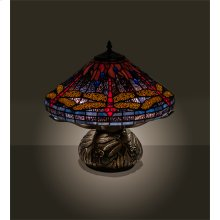 "16"" High Tiffany Hanginghead Dragonfly Cone Table Lamp"