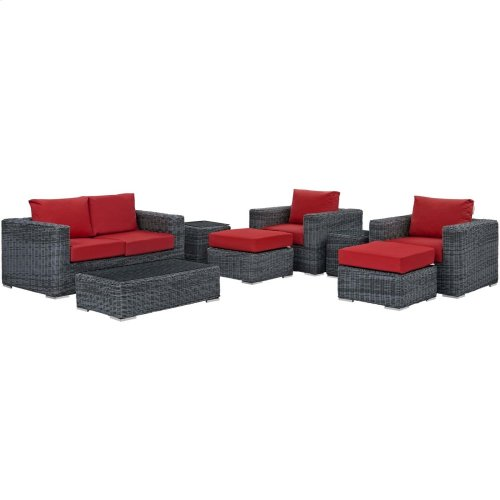 Summon 8 Piece Outdoor Patio Sunbrella® Sectional Set in Canvas Red