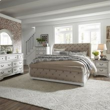 Queen Uph Sleigh Bed, Dresser & Mirror, Chest, NS