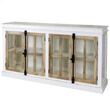 Tucker  71in X 16in X 40in  Four Door Credenza with Clear Tempered Glass Window Pane Door Panels &