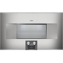 """400 series 400 series Combi-steam oven Stainless steel-backed full glass door Right-hinged Controls at the bottom Width 30"""" (76 cm)"""