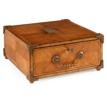 Parquetry box with leather folder