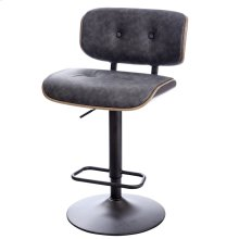 WRAY BAR STOOL  Faux Distressed Gray Leather with Gray Finish on Metal Base
