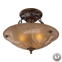 Restoration 3-Light Semi Flush in Golden Bronze with Amber Glass - Includes Adapter Kit