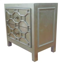 Silvestro Distressed Side Table 2 Drawers, Antique Champagne
