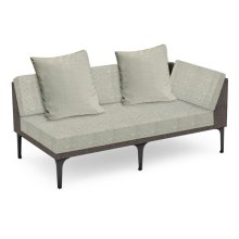 "67"" Outdoor Dark Grey Rattan 2 Seat L-Shaped Left Sofa Sectional, Upholstered in Standard Outdoor Fabric"