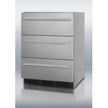 Commercially approved three-drawer refrigerator in stainless steel for built-in undercounter use, with thin towel bar handles