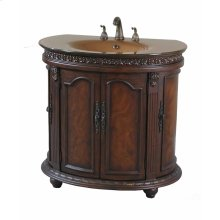 Half Round Walnut Glass Top Vanity