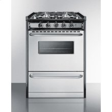 """Slide-in Gas Range In Slim 24"""" Width, With Stainless Steel Doors and Four Sealed Burners; Replaces Tnm630r"""