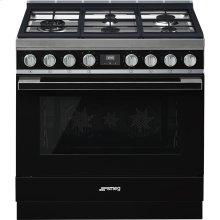 "Portofino Pro-Style Dual Fuel Range, Black, 36"" x 25"""