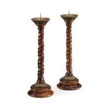 Pair of Barley Twist Walnut Candlesticks