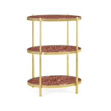 Red Brazil marble & polished solid brass three-tier table (Large)