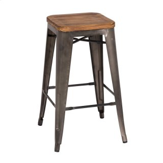 Metropolis Backless Counter Stool Wood Seat, Gunmetal