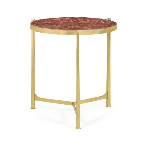 Large Solid Brass & Red Brazil Marble Top Round Lamp Table