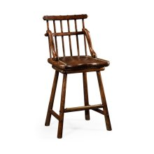 Rustic Dark Oak Country Side Bar Stool