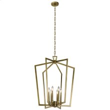 "Abbotswell 32.25"" 6 Light Foyer Pendant Natural Brass"