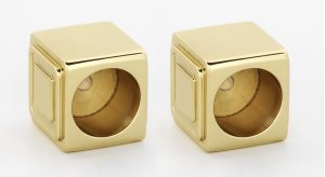 Cube Shower Rod Brackets A6546 - Unlacquered Brass Product Image
