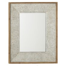 Washed Galvanized Embossed Scroll Leaf Wall Mirror