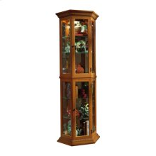 Angled 5 Shelf Mirrored Curio in Golden Oak Brown
