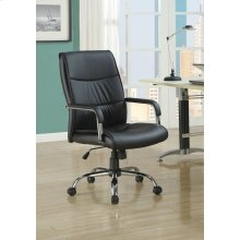 OFFICE CHAIR - BLACK LEATHER-LOOK FABRIC