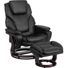 Contemporary Multi-Position Recliner and Ottoman with Swivel Mahogany Wood Base in Black Leather