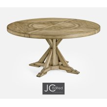 "60"" Light Driftwood Round Dining Table with Inbuilt Lazy Susan"
