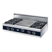 """Viking Blue 42"""" Open Burner Rangetop - VGRT (42"""" wide, four burners 18"""" wide griddle/simmer plate)"""