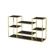 Stainless Steel Console Table, Gold/black Glass