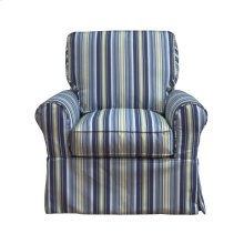 Sunset Trading Horizon Slipcovered Box Cushion Swivel Rocking Chair  Beach Striped  Color: 395245