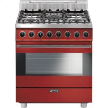 "Free-Standing Gas Range, 30"", Red"