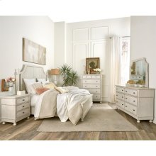 Bella Grigio - Three Drawer Nightstand - Chipped White Finish