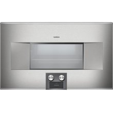 """400 series 400 series Combi-steam oven Stainless steel-backed full glass door Width 30"""" (76 cm) Right-hinged Controls at the bottom"""