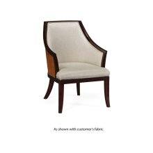 Rounded back armchair, upholstered in COM