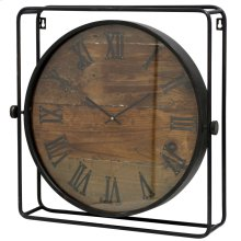 Metal Wood & Glass Wall Clock  22in X 21in