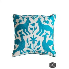 EDEN PILLOW- TURQUOISE  Hand Embroidered Wool on Cotton  Down Feather Insert