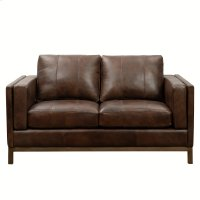 Drake Leather Loveseat with Wooden Base in Brown Product Image