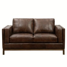 Drake Leather Loveseat with Wooden Base in Brown
