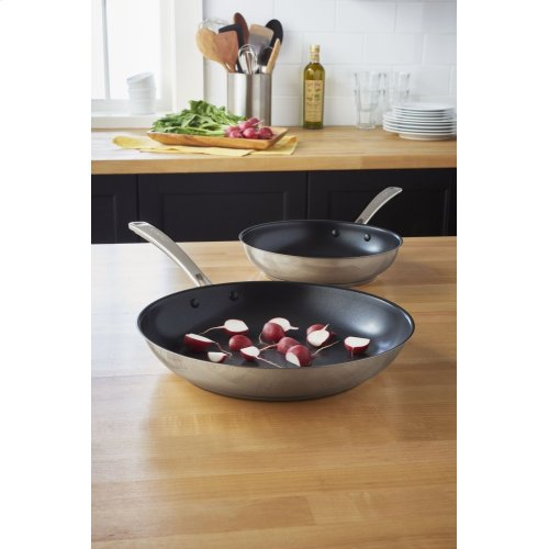 "Stainless Steel 10"" and 12"" Skillets Twin Pack - Polished Stainless Steel"