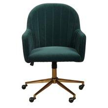 Upholstered Channel Tufted Office Chair in Emerald Green Velvet