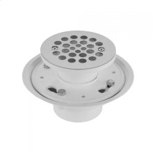 """White - 2"""" or 3"""" PVC Complete Round Shower Drain"""