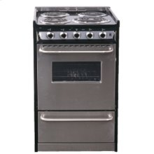 """Slide-in electric range in 30"""" width with stainless steel doors and black porcelain top"""