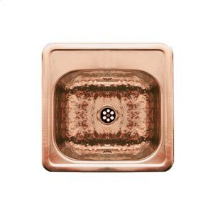 """Decorative Prep square, drop-in entertainment/prep sink with a hammered textured bowl, mirrored finish ledge, and a 2"""" center drain. Product Image"""