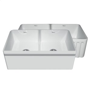 """Farmhaus Fireclay Reversible Series double bowl fireclay sink with a decorative 2 1/2"""" lip on one side, a fluted front apron on the opposite side, and 3 1/2"""" center drains. Product Image"""