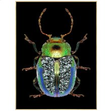 Green Beetle  24in X 32in X 1in  Framed Tempered Glass Print with Crystal Jewel Accents