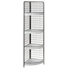 Black & White Enamel Corner Display with Shelves