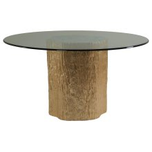 Trunk Segment Round Dining Table With Glass Top-Gold Leaf