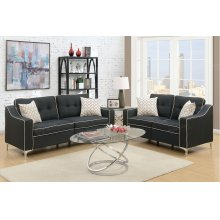 Black Sofa and Love Seat with Chrome Legs and White Trim