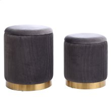 BEECHER OTTOMAN GRAY- SET OF 2  Charcoal Gray Ribbed Velvet Storage Ottoman with Gold Finish on Met