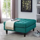 Empress Upholstered Fabric Large Ottoman in Teal Product Image