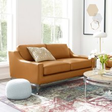 """Harness 64"""" Stainless Steel Base Leather Loveseat in Tan"""